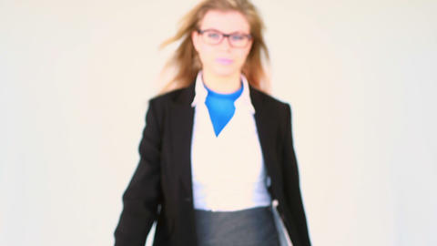 Businesswoman opening shirt in superhero style Stock Video Footage