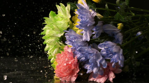 Bouquet of flowers falling onto wet black surface Footage
