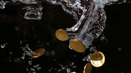 Euro coins falling into water Footage