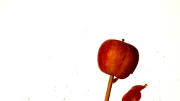 Arrow shooting through red apple on white background Footage
