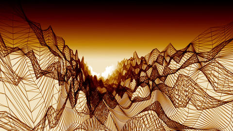 Wireframe landscape with hot atmosphere Animation