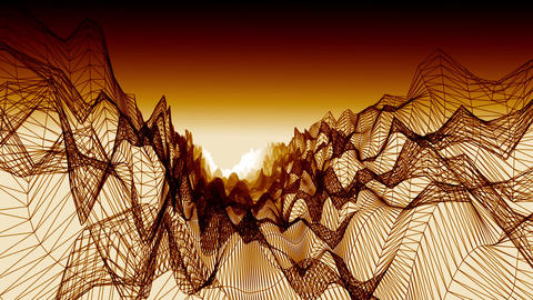 Wireframe landscape with hot atmosphere, Stock Animation