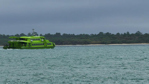 Ferry Passes by the Coastline Footage