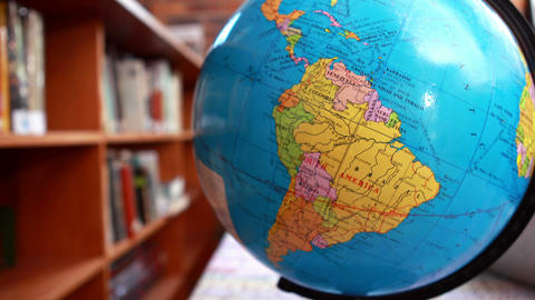 Focus On Globe In The Library stock footage