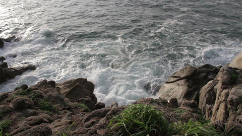 Rocky Shore in the Pacific in Oaxaca Mexico 7 Footage
