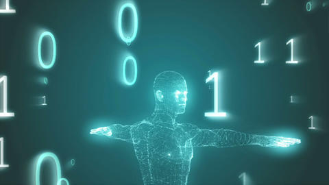 Vitruvian man graphic with binary code animation Animation