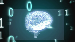 Revolving brain graphic with binary code animation Animation