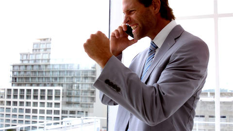 Handsome businessman looking out window talking on phone Footage