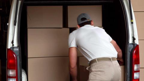 Delivery driver unloading his van Footage