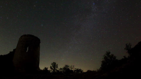 Time lapse of stars behind Syuyrenskaya fortress V Footage