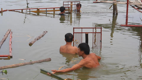 artisans make water stage for water puppet show, a unique art of Asia Live Action