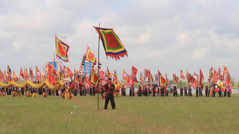 people dance with flag in festival, Asia Footage