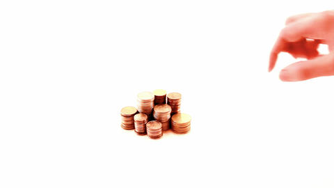 Hand and coins Stock Video Footage
