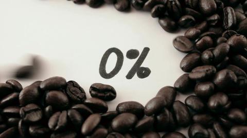 percentage. written on white under coffee Stock Video Footage