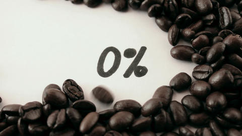 percentage. written on white under coffee Footage