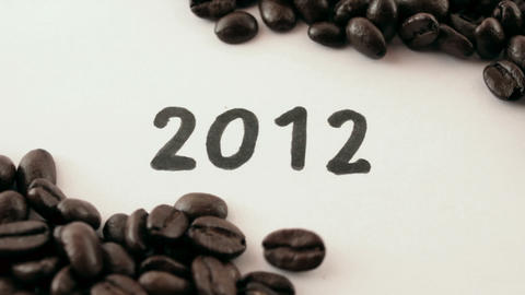 new year. written on white under coffee Footage