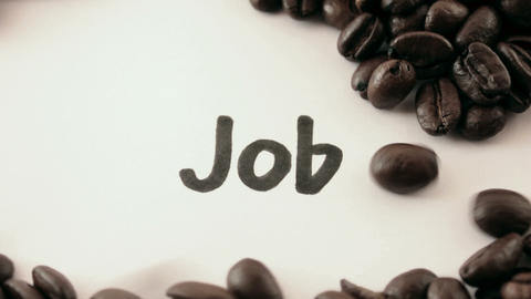 job. written on white under coffee Stock Video Footage