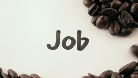 job. written on white under coffee Footage