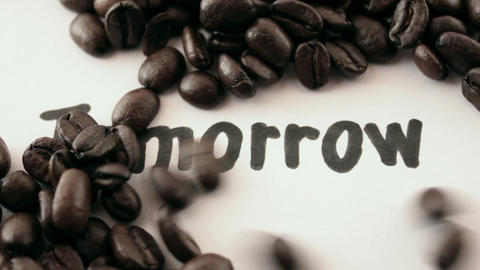 tomorrow. written on white under coffee Stock Video Footage