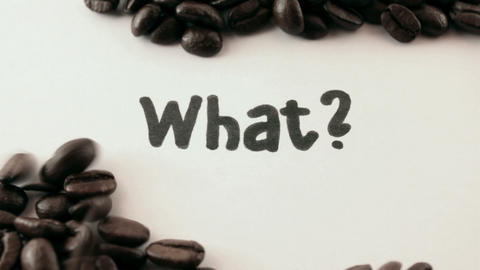 what. written on white under coffee Stock Video Footage