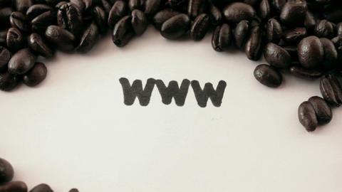 www. written on white under coffee Stock Video Footage