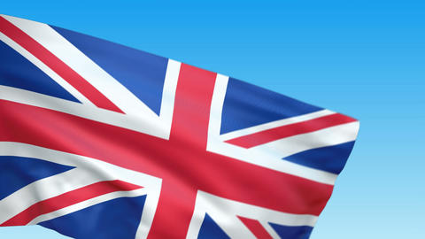 Seamless loop waving Great Britain flag Animation