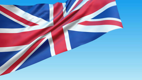 Seamless loop waving Great Britain flag Stock Video Footage