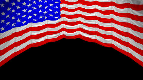 USA Flag curtain up. Alpha channel is included Stock Video Footage
