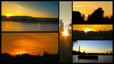 Beautiful Sunsets Splitscreen 01 Stock Video Footage