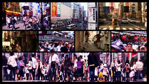 Tokyo Street Spliscreen 01 Stock Video Footage