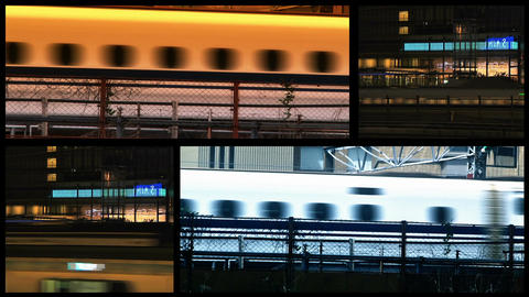 Tokyo Trains spliscreen Stock Video Footage