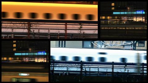 Tokyo Trains spliscreen Stock Video Footage