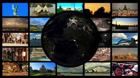Travel Night splitscreen 02 Stock Video Footage