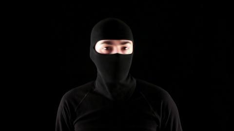 Ninja says no on black background Footage