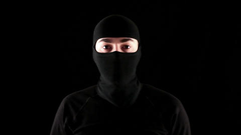 ready to fight ninja on black background Stock Video Footage