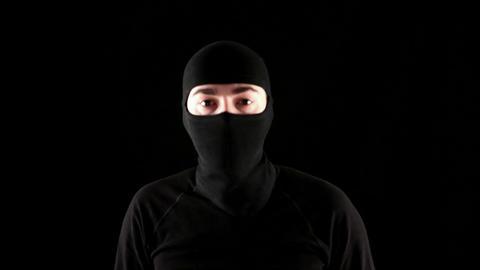 Ninja says yes on black background Live Action