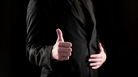 Businessman hand showing thumb up Footage