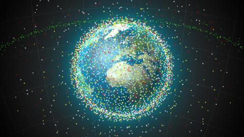 Satellites over earth loop Stock Video Footage