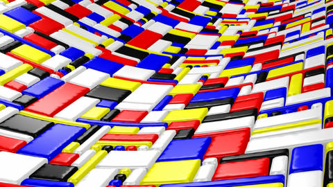 3D Mondrian style wave Stock Video Footage