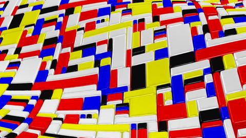 3D Mondrian style wave Animation