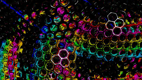 Hexagonal balls running Stock Video Footage