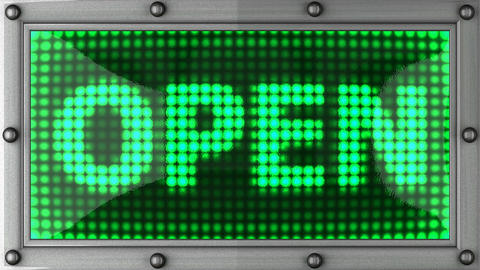 open announcement on the LED display Animation