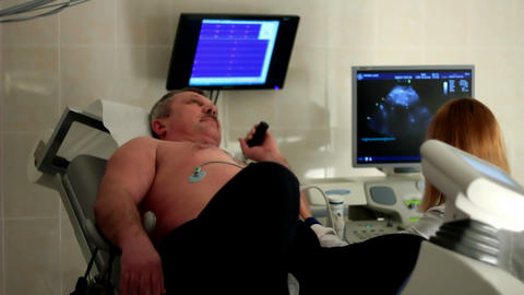 Ultrasound inspection in a clinic Stock Video Footage
