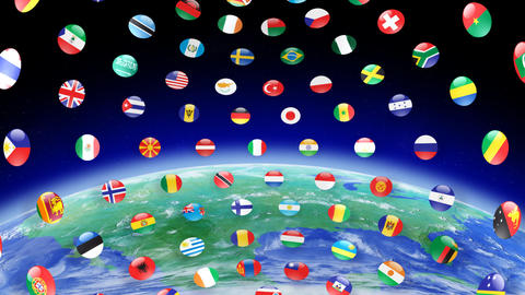 World Flags B Ice Stock Video Footage