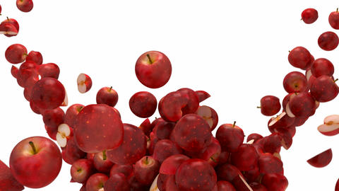 Red Apple flow with slow motion over white Stock Video Footage