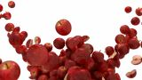 Red Apple Flow With Slow Motion Over White stock footage