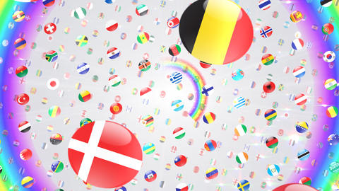 World Flags W Rcw Stock Video Footage