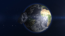 Asteroid Approaching Earth Stock Video Footage