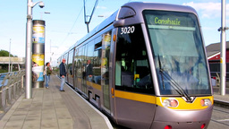 Luas Red Line Tram at Drimagh Tram Station Dublin Footage