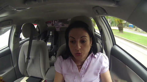 angry young woman screaming in the car Footage